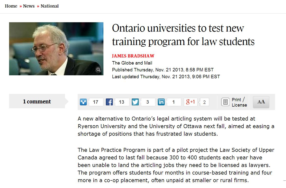 Law Practice Program in The Globe